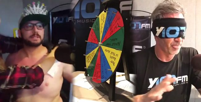 Jax and Cosmo with the Punishment Poker Wheel