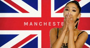 Ariana Grande blows kisses in front of Manchester flag