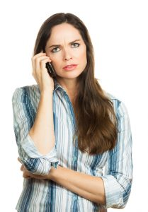 Frustrated girl on phone