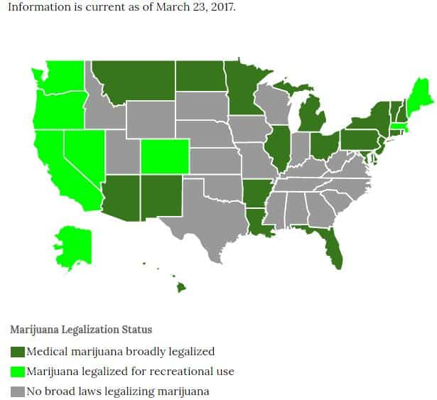 Map where pot use is legal