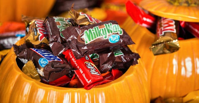 Halloween candy in ceramic pumpkin