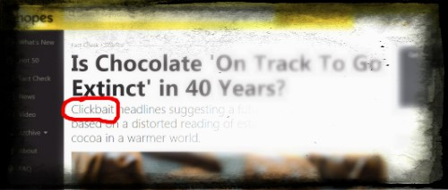 Snopes Chocolate clickbait