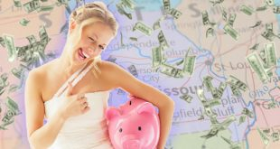 Missouri Wedding Bride with piggy bank in front of Missouri flag raining money