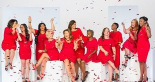 Go Red For Women banner with multiple women in red dresses