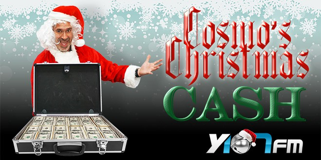 Cosmo is santa suit with case filled with cash for Christmas