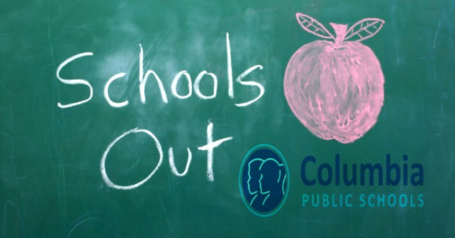 Chalkboard with schools out written on it and Columbia Public Schools Logo