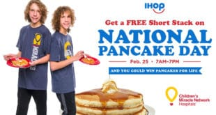 Fox twins holding pancakes with IHOP and CMN logos