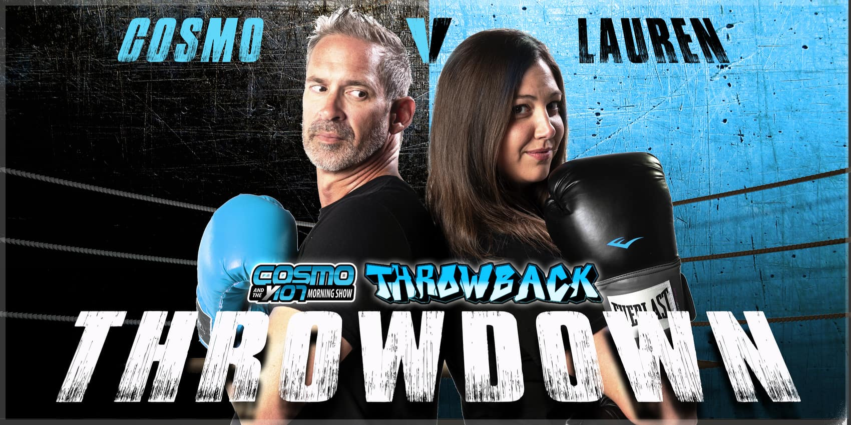 Throwback throwdown cover photo of Cosmo and Lauren back to back in a boxing ring