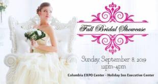 Bridal photo of bride looking at fall bridal show logo