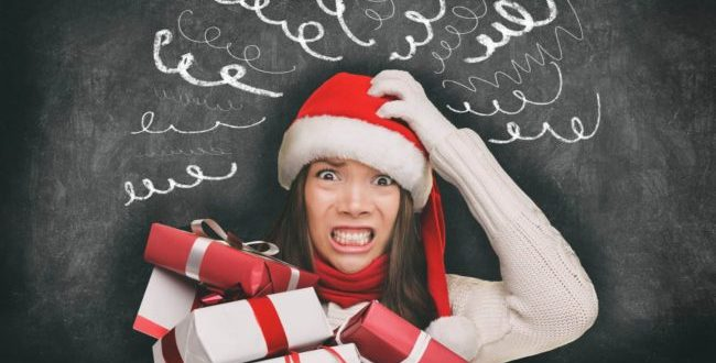 Woman stressed with holidays