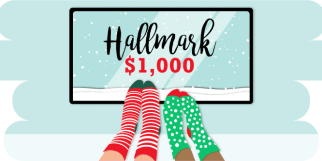 Socks in front of TV showing Hallmark $1000