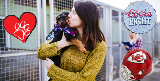 Woman adopt a puppy with Kansas City Chiefs and Coor logo
