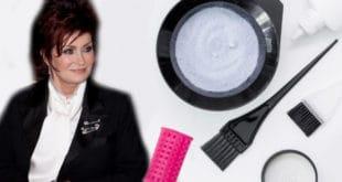 Sharon Osborne with hair color items