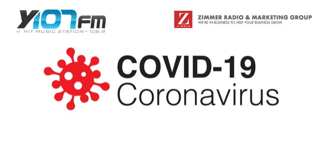 COVID-19 with Y107 and Zimmer logos