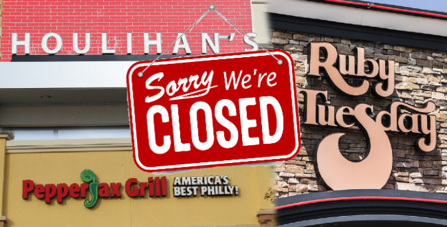 Houlihans, PepperJax Grill, and Ruby Tuesdays signs with Sorry We're Closed Sign