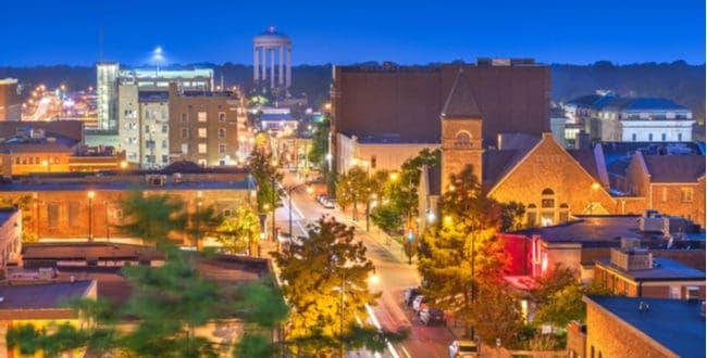 Night view of Columbia Missouri