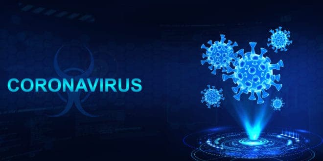 COVID19 Virus spore graphic on blue background
