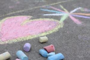Chalk on the sidewalk
