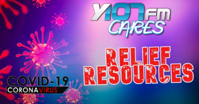 Y107 Cares Relief resources with Coronavirus backdrop