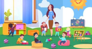 Drawing of kindergarten teacher and class