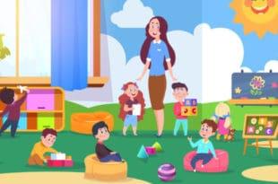 Drawing of kindergarten teacher and class