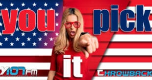 Girl pointing at camera with patriotic background and throwback in text