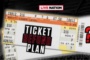 Blank concert tickets on a concert background with ticket refund plan text