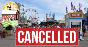 Fair runway with Missouri State Fair logo and cancelled over it
