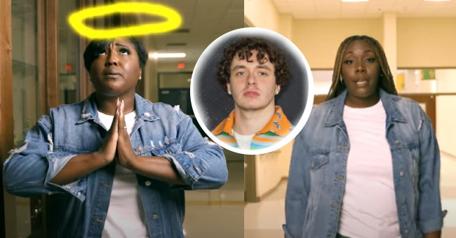 Jack Harlow in between pictures of teachers who covered what's poppin