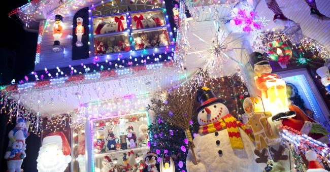House with wild Christmas Light display