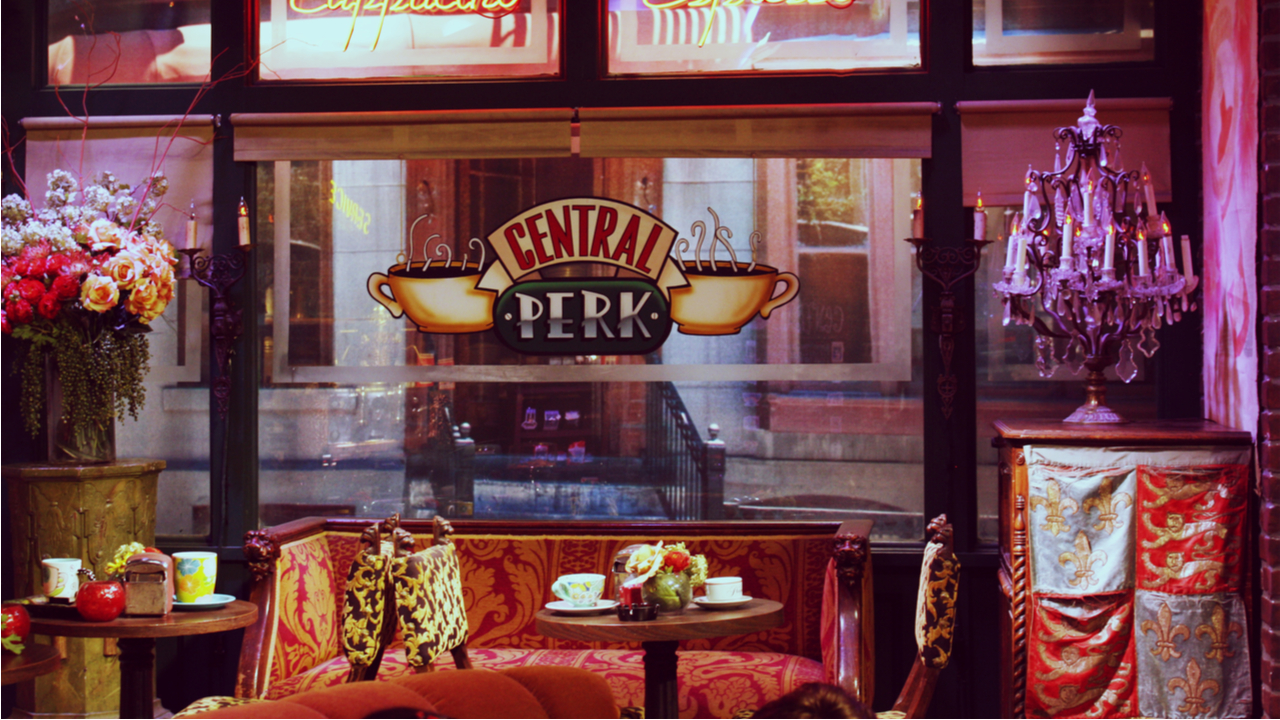 """Central Perk cafe set from """"Friends"""" TV show at Warner Brothers Studio in Los Angeles, California."""