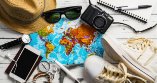 hat, sunglasses, map, shoes, camera, phone, headphones