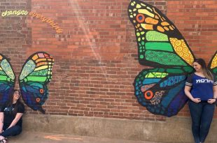 Lauren and Kristin at the Butterfly Murals in Downtown Columbia, MO
