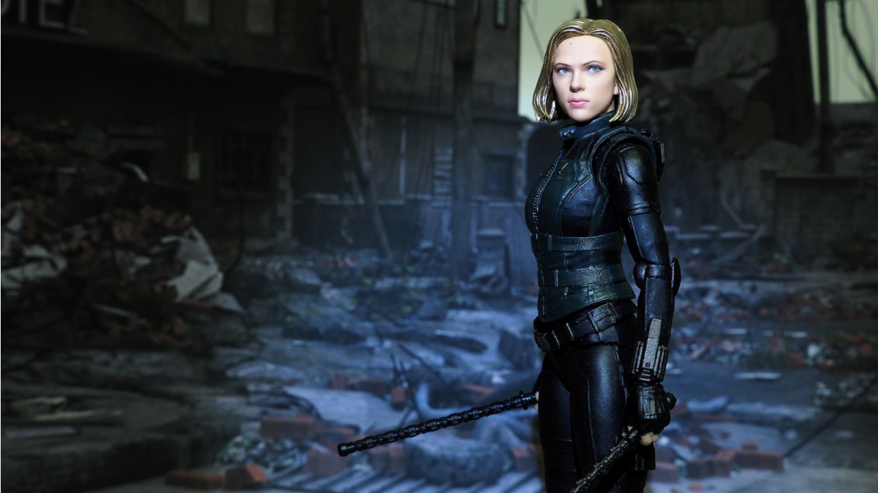 The setting of Black Widow, an action figure display from famous Marvel comic