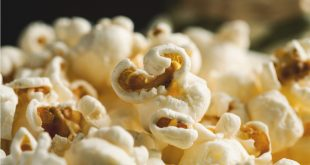 Pile of popcorn closeup macro shot, selective focus, toned