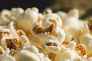 Pile of popcorn closeup macro shot, selective focus, toned