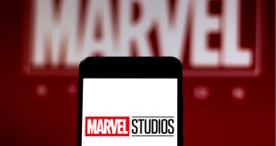 Marvel Studios logo on mobile device.