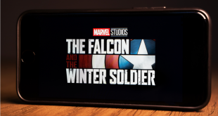 The Falcon and the Winter Soldier TV show logo on smartphone screen. This is a marvel studios TV series that is on the Disney Plus app.