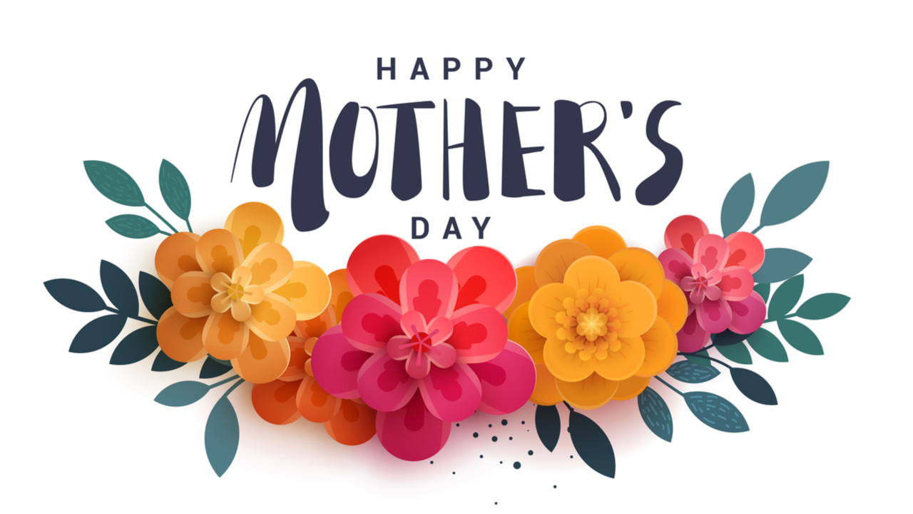 Happy Mother's Day lettering on a white. Bright illustration with red flowers and shadow. Paper flowers for the holiday.
