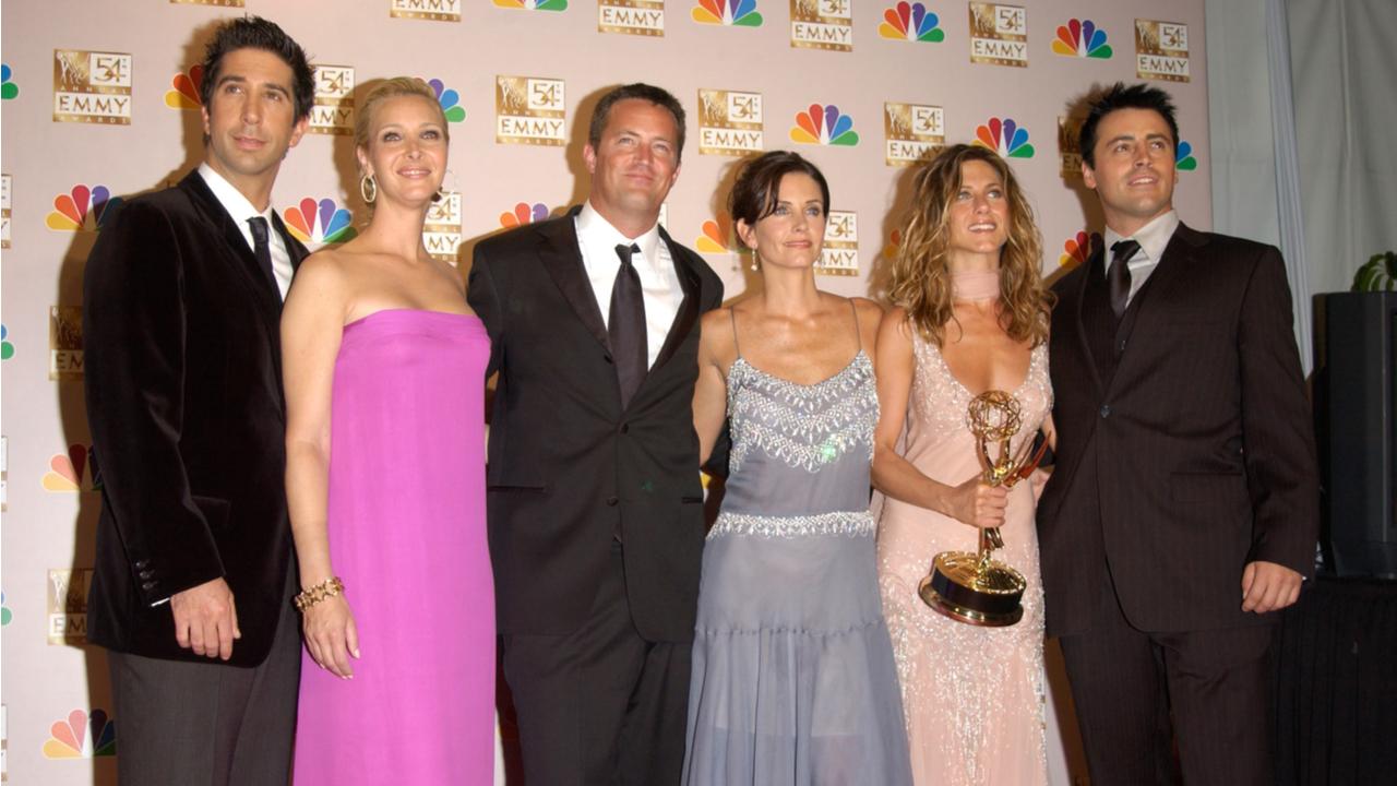 Friends stars DAVID SCHWIMMER (left), LISA KUDROW, MATTHEW PERRY, COURTNEY COX ARQUETTE, JENNIFER ANISTON & MATT LEBLANC at the 2002 Emmy Awards in Los Angeles.