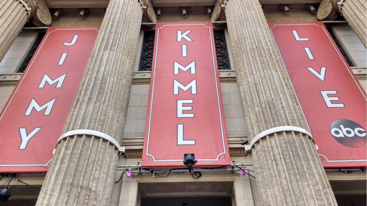 """The facade and columns of the building where the late night show """"Jimmy Kimmel Live"""" is filmed, on Hollywood Boulevard on the Hollywood Walk of Fame in Hollywood."""