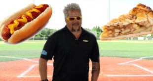 Guy Fieri with a hot dog and apple pie and ball park backdrop
