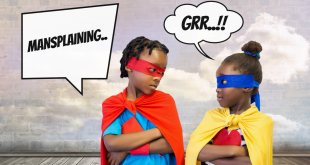 Digital composite of Mansplaining Superhero kids with cloudy sky wall and chat bubbles
