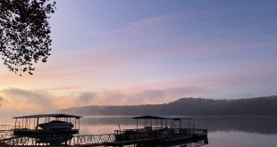 Early morning foggy sunrise on the lake of the ozarks